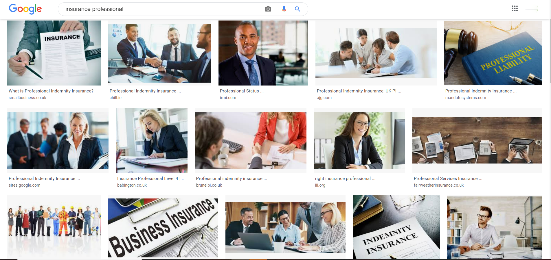 Google's image of an insurance professional